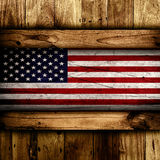 USA flag. Abstract wooden background with a grunge USA flag Royalty Free Stock Image