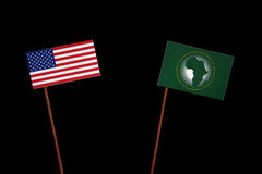 USA flag with African Union flag  on black Royalty Free Stock Image