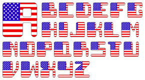 USA flag alphabet Royalty Free Stock Image