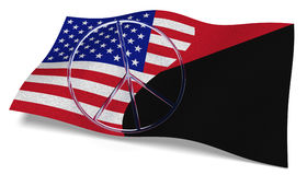 USA flag and an Antifa flag with a peace sign Royalty Free Stock Image