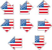 USA flag arrow placards Stock Photos