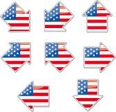 USA flag arrow placards Stock Photos