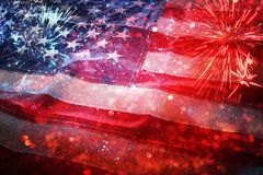 American flag and bokeh background with copy space for american celebration Stock Image
