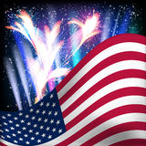 USA flag background. Fireworks in the night starry sky stock illustration