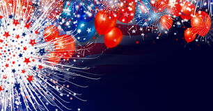 USA flag and balloon with firework background design. For USA 4 july independence day Stock Image