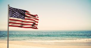 USA flag in the beach. Digital composite of USA flag in the beach royalty free stock photography