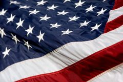 USA Flag Billowing 2. Close-up of an American Flag billowing in the wind (Shallow Focus royalty free stock photos