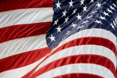 USA Flag Billowing. Close-up of an American Flag billowing in the wind (Shallow Focus stock photos