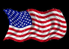 USA Flag billowing on white background. United States of America flag, star spangled, billowing on blsck background Stock Photo