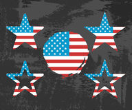 USA Flag on Black Background. Star and Circle shape. Vector illustration Royalty Free Stock Images