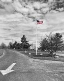 Flag This way. USA Flag black and white with selective color and arrow stock photo