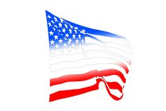 USA Flag Blowing In The Wind. USA flag silhouette waving in the wind isolated on white Stock Photo
