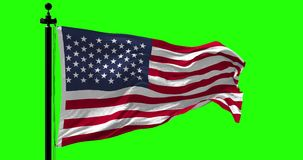 USA flag blowing in the wind. Close up USA flag blowing in the wind on green, looped slowmotion, 4K stock video footage