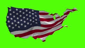 USA Flag Blowing in the Wind. Close up USA flag blowing in the wind, looped slowmotion stock footage