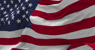 USA flag blowing in the wind. Close up USA flag blowing in the wind, looped slowmotion, 4K stock video