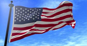 USA flag blowing in the wind. Close up USA flag blowing in the wind, looped slowmotion, 4K stock video footage