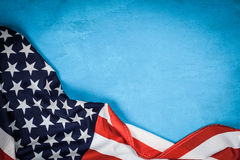 USA flag on blue background. USA flag on light blue background Royalty Free Stock Photo