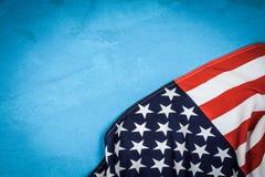 USA flag on blue background. USA flag on light blue background Stock Photography