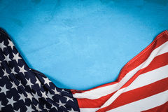 USA flag on blue background. USA flag on light blue background Royalty Free Stock Photography