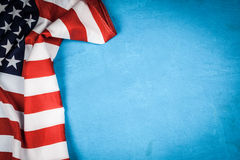 USA flag on blue background. USA flag on light blue background Stock Image