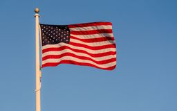 USA FLAG ON A BLUE BACKGROUND stock image