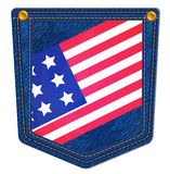 USA Flag Blue Jean Pocket. Jean Pocket decorated with the USA flag and gold stitching Stock Images