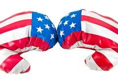 USA flag on boxing gloves Stock Images