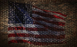 USA Flag on Brick Wall Royalty Free Stock Photo