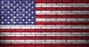 USA flag with brick wall texture Stock Photo
