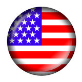 USA Flag Button with 3d effect Stock Photography