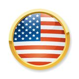 USA flag button Stock Images