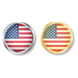 Usa flag button with silver and gold vector. American flag button icon with silver and gold on white background Royalty Free Stock Photography