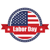USA flag on button stamp with ribbons. Labor day. Vector illustration Stock Photo