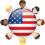 USA Flag Button Teamwork People Group Stock Photography
