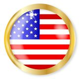 USA Flag Button. A USA button of the Stars and Stripes with a gold metal circular border over a white background Royalty Free Stock Photos