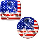 USA flag buttons with water. Two United States of America flags with water bubbles or droplets on top of giving a prism effect Stock Illustration