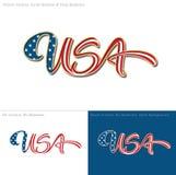 USA Flag Caligraphic Text Royalty Free Stock Photo