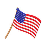 USA flag cartoon icon. On white background vector illustration