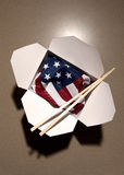 USA flag in Chinese food container stock image