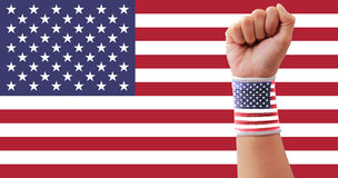 USA flag clenched fist Royalty Free Stock Image