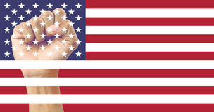 USA flag clenched fist Stock Image