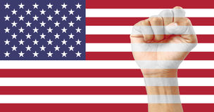 USA flag clenched fist Stock Photos