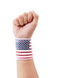USA flag clenched fist isolated with clipping path. Royalty Free Stock Images