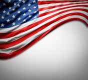 USA flag. Closeup of American flag on grey background Royalty Free Stock Photo