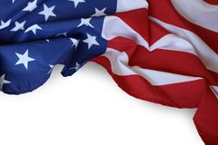 USA flag. Closeup of American flag on plain background Royalty Free Stock Images