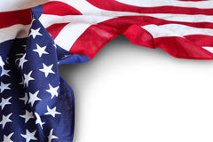 USA flag. Closeup of American flag on plain background Royalty Free Stock Image