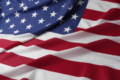 USA flag. Closeup of rippled American flag Stock Photos