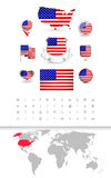 USA Flag Collection and Detailed World Map Stock Photos