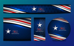 USA Flag Color Banner Backgrounds. Vector illustration Royalty Free Stock Photography