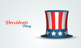 USA flag color hat for Presidents Day celebration. Glossy United State American flag color hat on shiny sky blue background for Presidents Day celebration Vector Illustration